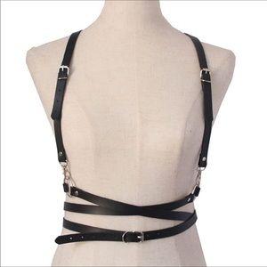 Leather Waist Belt Shoulder Harness New